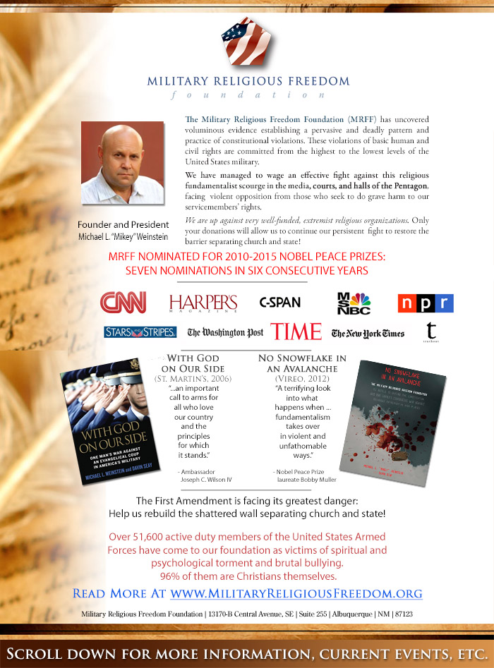 Mikey Weinstein one-page info sheet
